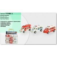 Набор машин инерц 731ABC-1 (120шт/2) 3 вида, милиция, скорая, пожарная, в пакете 25*13*12см