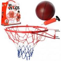 Баскетбольное кольцо M 2654 (8шт) 45см(металл),сетка,мяч резиновый 20см,насос,в кор-ке,45,5-53-11см
