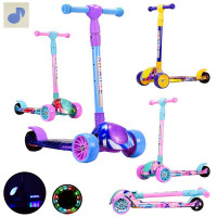 Самокат детский 3 колесный HS2015 (6шт) складной, свет, муз, колеса PU свет, 4 цвета