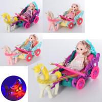 Карета 0817E-1-2 (24шт) с лошадью33см,кукла шарнир15см,муз,звук,св,ездит,4в,бат,в кульке, 32-15-15см