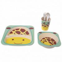"""Посуда детская бамбук """"Жираф"""" 5пр/наб (2тарелки, вилка, ложка, стакан) MH-2770-16 (12шт)"""