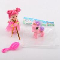 Кукла W700-147 (180шт) 10см, расческа, лошадка 6см, в кульке, 8-10-3см
