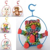 Мягкая игрушка MP 2072 (20шт) кот, качели, повторюшка, подвижная, 5цветов, на бат-ке, в кульке, 19см
