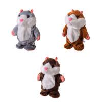Мягкая игрушка повторюшка M1468 (40шт)3 цвета, хомяк, ходит, в пакете, р-р игрушки – 18 см