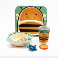 """Посуда детская бамбук """"Пчелка"""" 5пр/наб (2тарелки, вилка, ложка, стакан) MH-2770-3 (12наб)"""