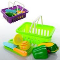 Продукты 2235-3 (144шт) на липучке, корзинка, досточка,нож, 2цвета, в кульке, 16,5-12,5-6см
