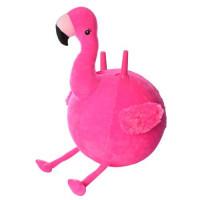 Мяч для фитнеса MS 2932 (12шт) с рожками, 45см, ткань, фламинго, 400г, в кульке, 23-24-13см