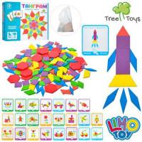 Деревянная игрушка Игра MD 2239 (30шт) многоугольники/блоки,карточки, 155дет, в кор-ке, 25-21,5-4см