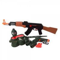 Набор военного AK-907EG (36шт) автомат55см-трещот,пистолет, маска, бинокль,фляга,на листе