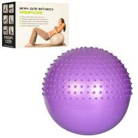 Мяч для фитнеса-65см MS 1652 (12шт) Фитбол массаж,1100г,3цв, Anti-Burst System, в кор-ке, 24-18-10см