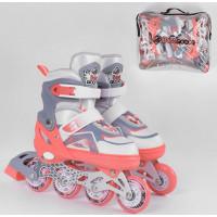 Ролики 8430-М Best Roller /размер 34-37/ цвет КОРАЛЛОВЫЙ (6) колёса PU, ПЕРЕДНЕЕ КОЛЕСО СВЕТ, в сумк