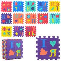 Коврик Мозаика M 2610 (8шт) EVA, укр.алфавит, фигурки, пазл,14дет,31-14-1см, в кульке