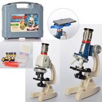 Микроскоп C2170-C2171 (9шт) 21см,свет, пробирки, инструменты,2вид,на бат-ке,в чемодане,35-28,5-8,5см