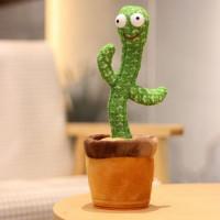 Танцующий и поющий кактус повторюшка Dancing Cactus TikTok Мексиканец с подсветкой зеленый, 34