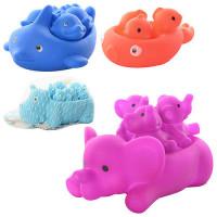 Животное 142-2-4-7-8 (400шт) для купания , пищалки, 4 вида(рибка, дельфын, бегемот, слон)