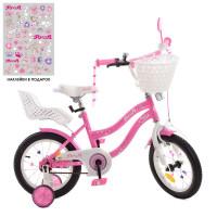 Велосипед детский PROF1 14д. Y1491-1K (1шт) Star,SKD75,розов,звонок,фонарь,корзина,сид куклы,доп.кол