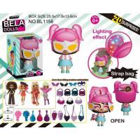 Кукла Bela Dolls BL1156 (28шт/2) сумка, в кот. кукла 17,5см+сюрпризы: одежда, украшени