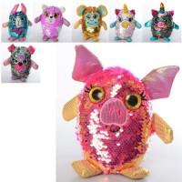 Мягкая игрушка MP 2116 (36шт) животное, 14см, пайетки, микс видов