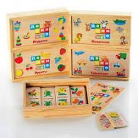 Деревянная игрушка Домино MD 0017 (120шт) 6видов(игр,фрук,трансп,сказк,животн-2),в пенале,15,5-4-9см