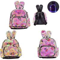 Рюкзак со светом BG0043 (40шт) с ушками, в пайетках, 4 цвета, 25*12*30 см