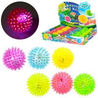 Мяч массажный MS 1137-1 (240шт) 6,5см, св, пищалка, на бат(таб),24шт(6цветов,) в дисплее,38.5-26-6см