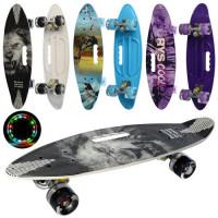 Скейт MS 0461-7 (8шт) пенни,60-17см,алюм.подвеска,ручка,колесаПУсвет, антискольз,разобр, 3вида