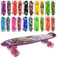 Скейт MS 0749-6 (10шт) пенни55-14,5см, колесаПУ свет, рисунок, разобр, 10вид, в кульке