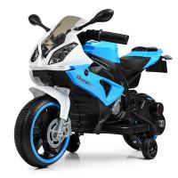 Мотоцикл M 4103-1-4 (1шт) 2мотора25W, 2аккум6V4AH, MP3, TF, USB, свет.колеса, бело-синий
