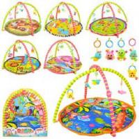 Коврик для младенца 004-5-8-13-25-29 (12шт) 84-84см,дуга 2шт,подвес5шт, 2вида  в сумке,62-66-2,5cм