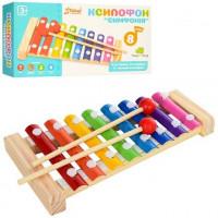 Деревянная игрушка Ксилофон MD 1163 (100шт) 20см, 8 тонов, палочка 2шт, в кор-ке, 21,5-11-3,5см