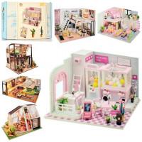 Деревянная игрушка Домик MD 2505 (10шт) мебель, аксессуары(сделай сам),6в,на бат,в кор-ке, 32-21-6см