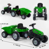 Трактор педальный с прицепом 07-316 GREEN (1) клаксон на руле, сидение регулируемое, задние колеса