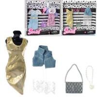 Наряд для куклы 3316-C (72шт) платья 2шт, сумочка, аксессуары, 2вида, в кор-ке, 23-23-2,5см