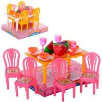 Столовая 967 (180шт) стол, 4 стула, посуда, фрукты, в слюде, 13-11-9см