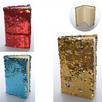 Блокнот MK 3185, пайетки, линия, 4 цвета, в кульке, 14-9-1,5см