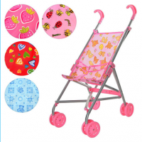 Коляска 9302 W (12шт) для куклы,жел,зонтик,двойные колеса,поворот,,выс.до руч53см,5 видов