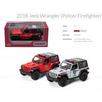 Модель джип 5' KT5412WPR Jeep Wrangler Police/Firefighter метал.инерц.откр.дв.кор. /96/