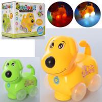 Музыкальная игрушка 726 (30шт) собака, 15см, муз, свет, ездит,2цв,на бат-ке, в кор-ке, 16-14,5-10см