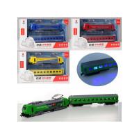 Поезд MS903-2 (12шт) инер-й,электричка,локомотив/вагон49см, зв/св, 4вида,бат-таб, в кор-ке,34-17-5см