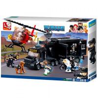 Конструктор SLUBAN M38-B0659 (12шт) полиция,трейлер-база,вертолет,фигурки,540дет,в кор,47,5-33-6,5с