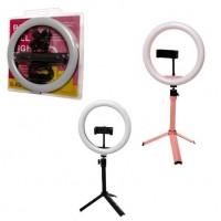 Кольцевая светодиодная Led Лампа 26 см OL-K30 с зажимом для телефона и штатив-трипод 17 см (Розовый)