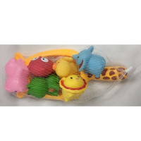 Сачок-жираф 7729-6B (100шт) для купания, животные 6шт, в сетке, 27-12-8см