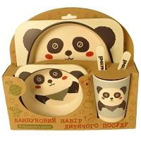 "Посуда детская бамбук ""Панда"" 5пр/наб (2тарелки, вилка, ложка, стакан) MH-2770-7 (12наб)"
