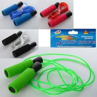 Скакалка MS 1100 (60шт) 269см, ручки фомовые, пластик, 4 цвета, в кульке,13,5-21-3см