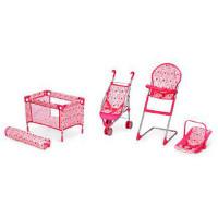 Набор игровой 9003 (4шт) для куклы,люлюка-перенос38см, коляска,манеж,стул для кормл,в кор,64-30-14см
